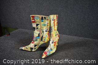 New Unique High Heel Boots - Size 9