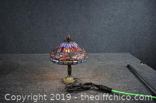 Working Stain Glass Dragonfly Lamp