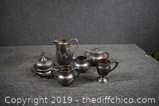 Silver Plate Pitcher, Cream, Sugar and More
