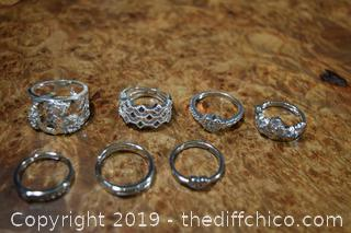 7 Costume Jewelry Rings Size 6