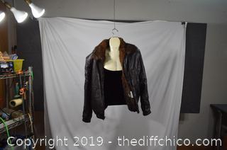 Alan Michaels Mink Lined Leather Jacket-size 44