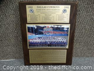 Dallas Cowboys 1992 Super Bowl Champions Plaque