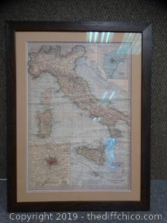 Century Atlas Italy Framed Map