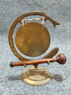 """Solid Brass Mid-Century Table Top Gong - 6"""" x 4.5"""""""