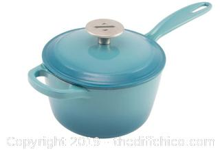 ZELANCIO 2 QUART ENAMELED CAST IRON SAUCE - TEAL (J7)