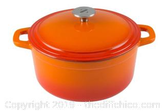 ZELANCIO 6 QUART ENAMELED CAST IRON DUTCH OVEN - ORANGE (J9)