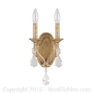 "Capital Lighting 1617AG-CR Blakely 2 Light 7"" Wide Wall Sconce with Crystal Accents (J4)"