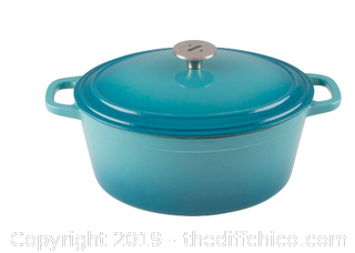 ZELANCIO 6 QUART OVAL ENAMELED CAST IRON DUTCH OVEN WITH LID - TEAL (J7)