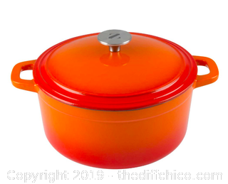 ZELANCIO 6 QUART ENAMELED CAST IRON DUTCH OVEN WITH LID - ORANGE (J10)