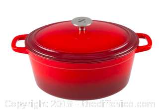 ZELANCIO 6 QUART OVAL ENAMELED CAST IRON DUTCH OVEN WITH LID - RED (J12)