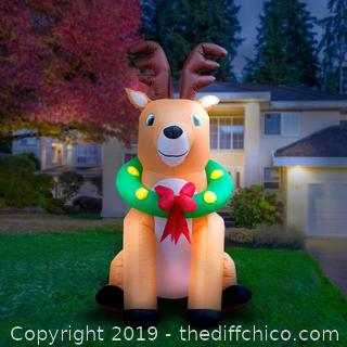 Holidayana Inflatable Christmas Reindeer with Wreath Decoration with Built-in Fan and LED Lights (J14)