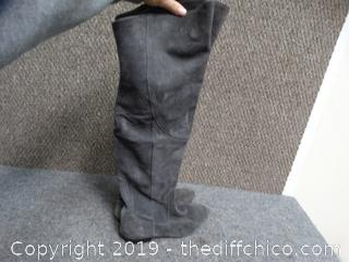 Gray Leather Boots Size 8