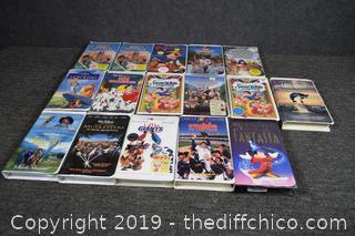 Walt Disney / Warner Bros VHS Tapes