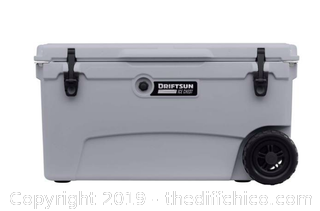 Driftsun 70 Quart Performance Rolling Ice Chest- Insulated Rotomolded Cooler - Gray (J1)