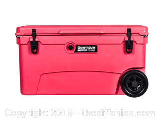 Driftsun 70 Quart Performance Rolling Ice Chest- Insulated Rotomolded Cooler - Coral (J3)