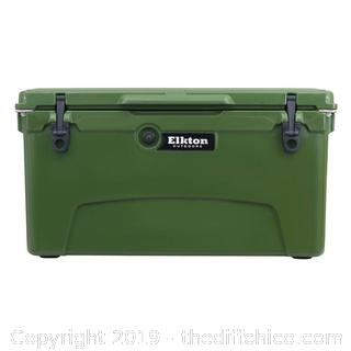ELKTON OUTDOORS 75 QUART ICE CHEST WITH BOTTLE OPENER, DRAIN PLUG & FREEZER GASKET SEAL - GREEN (J4)