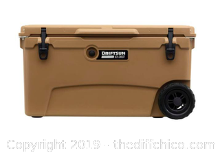 Driftsun 70 Quart Performance Rolling Ice Chest- Insulated Rotomolded Cooler - Tan (J6)