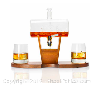 Attersone Whiskey Cylinder Sail Boat Decanter Set (J26)