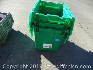 3 Green Flip Top Totes