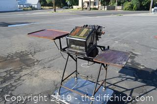 Vintage Burrough Adding Machine w/Stand