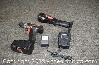 Drill Master-Charger, Drill, Battery and Flashlight