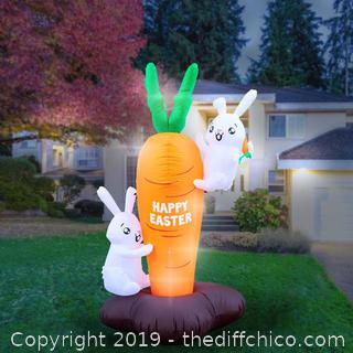 Holidayana Inflatable Easter Bunny Climbing Carrot Decoration with Built-In Fan and LED Lights (J4)