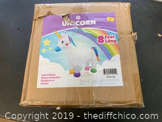 Holidayana Inflatable Unicorn Decoration with Built-In Fan and LED Lights (J6)