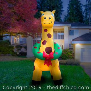 Holidayana Inflatable Christmas Giraffe with Wreath Decoration with Built-In Fan and LED Lights (J7)