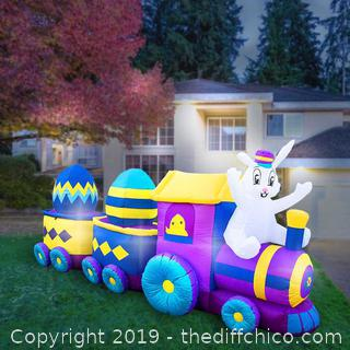Holidayana Inflatable Easter Bunny Train Decoration with Engine and 2 Cars with Built-In Fan and LED Lights (J8)