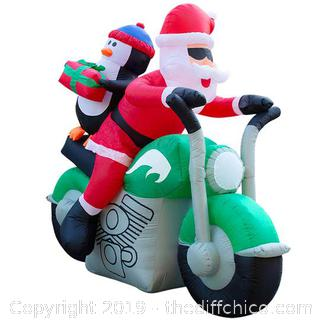 Holidayana Inflatable Santa on Motorcycle Christmas Decoration with Built-In Fan and LED Lights (J10)