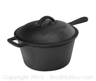 ZELANCIO 2.5 QUART PRE-SEASONED NON-ENAMELED SAUCE PAN WITH LID (J12)