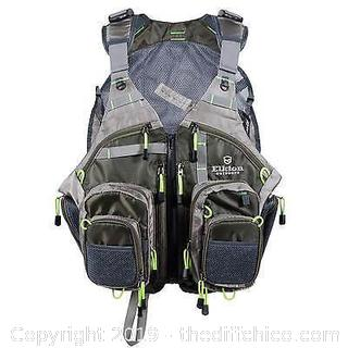 ELKTON OUTDOORS FLY FISHING VEST WITH MESH MULTI-POCKET STORAGE (J19)
