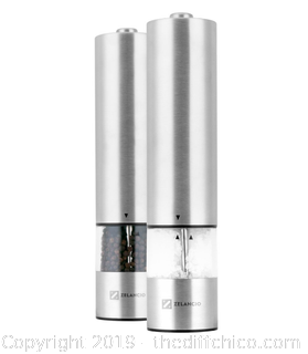 ZELANCIO ELECTRIC SALT AND PEPPER OR SPICE GRINDER SET, BATTERY OPERATED (J23)