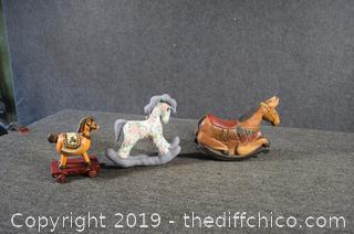 3 Collectible Rocking Horses