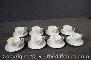 Set of 8 Cups and Saucers