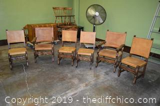 6 Chairs w/Leather Backs and Seats