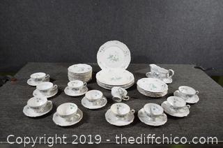 43 Pieces of Green Ming Bavaria Dishes