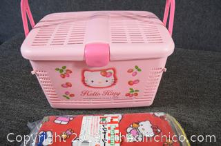 Hello Kitty Picnic Basket and Table Cloth/Blanket