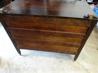 Vintage Rolling Dresser With Wood Wheels (1 needs repair)