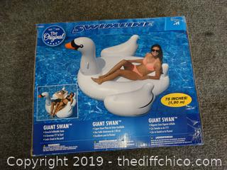 NIB Giant Swan Swim Raft