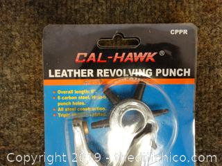 Cal Hawk Leather Revolving Punch NIB