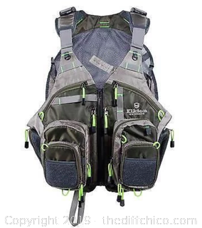 Elkton Outdoors Fly Fishing Vest With Mesh Multi-Pocket Storage (J12)