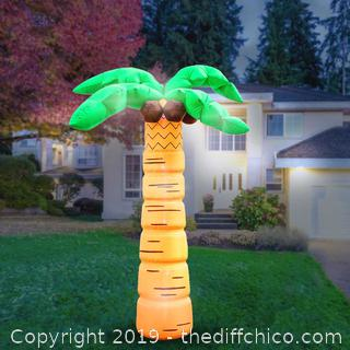 Holidayana Inflatable Palm Tree with Coconuts Decoration with Built-In Fan and LED Lights (J14)