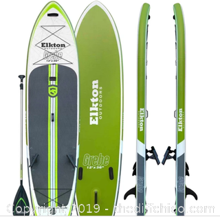Elkton Outdoors Elkton Outdoors 12' Inflatable Fishing Paddle Board (J23)