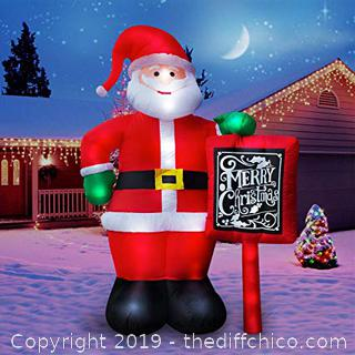Holidayana 10 Foot Inflatable Santa With Merry Christmas Sign (J57)