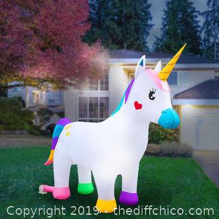 Holidayana Inflatable Unicorn Decoration with Built-In Fan and LED Lights (J58)