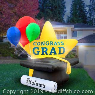 Holidayana 8-Foot Inflatable Graduation Star, Grad Cap with Tassel (J59)