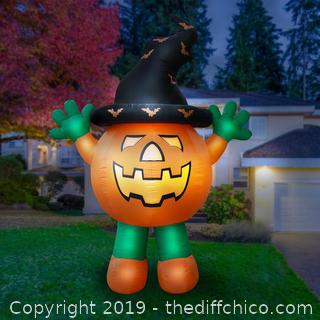 Holidayana Inflatable Halloween Pumpkin Man Decoration with Built-in Fan and LED Lights (J61)