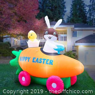 Holidayana Inflatable Easter Bunny Driving Carrot Car with Baby Chick in Egg Decoration with Built-In Fan and LED Lights (J64)