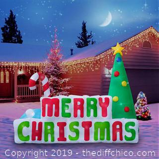 Holidayana Inflatable Merry Christmas Sign Christmas Decoration with Built in Fan and LED Lights (J67)